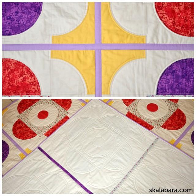 drunkard's path quilt with wedding ring block collage - skalabara.com