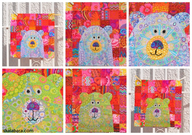 collage bear pillows in detail - skalabara.com