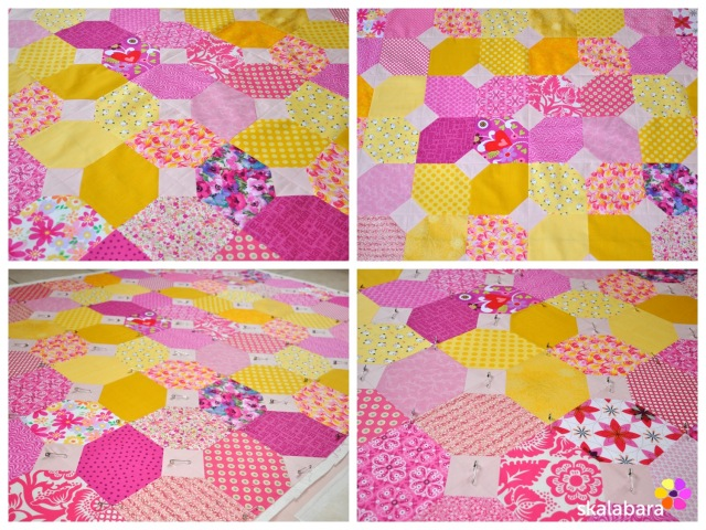 pink baby quilt befor quilting - skalabara