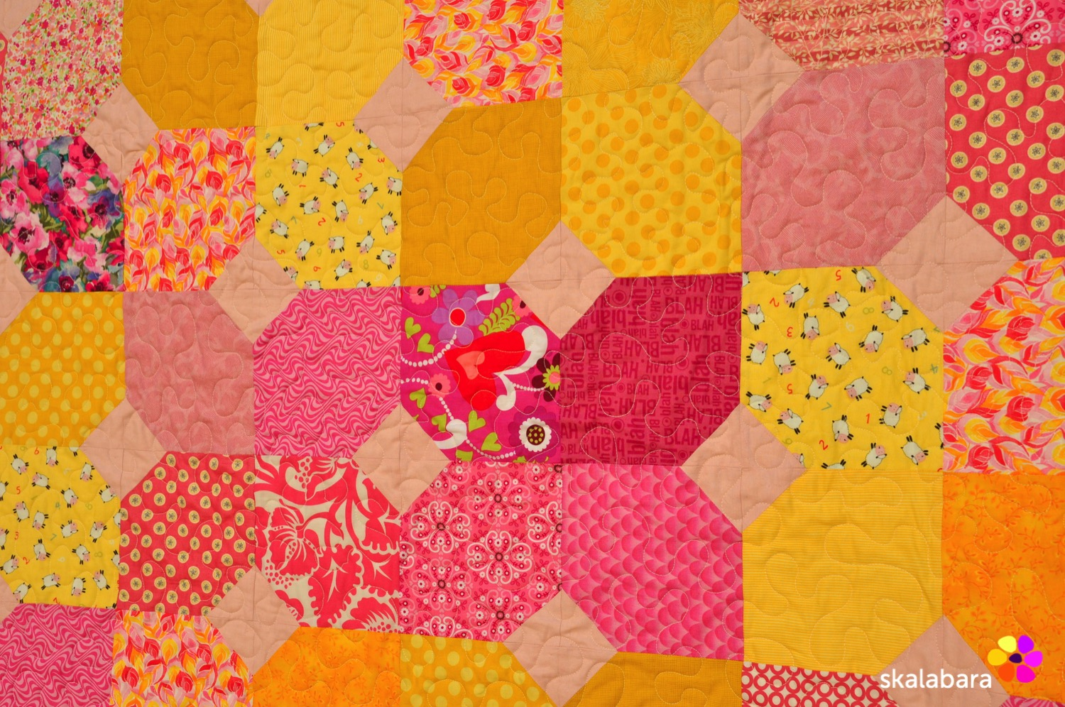 Pink Baby Quilt Detail