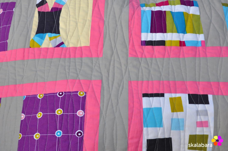 pink wave quilt - quilting detail - skalabara