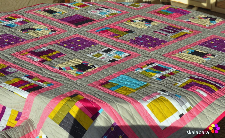 pink wave quilt - quilting - skalabara