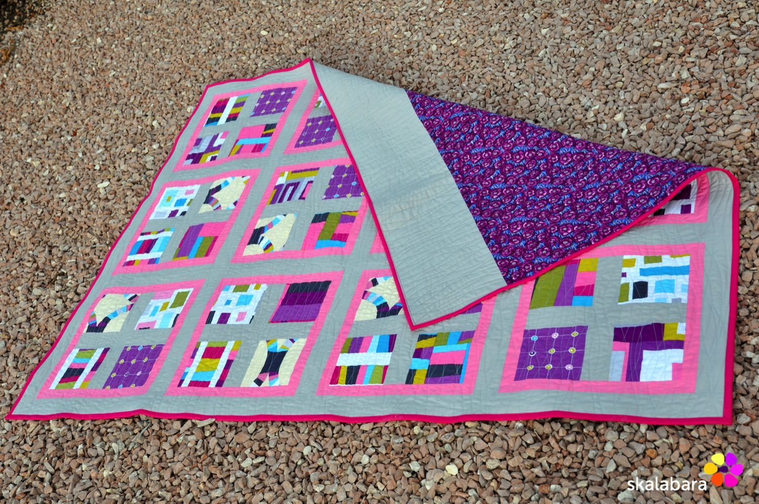 pink wave quilt - backing - skalabara
