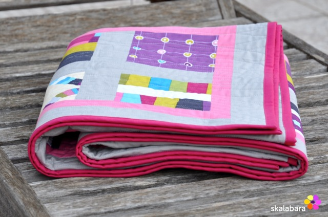pink wave quilt - binding - skalabara