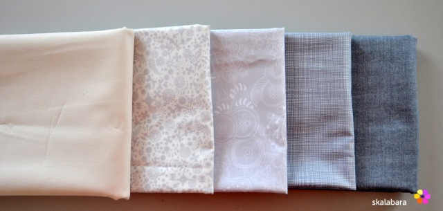 greys from anover and makower and ivory from kona solids - skalabara