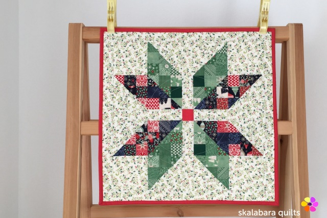 christmas star with circle quilting - skalabara quilts