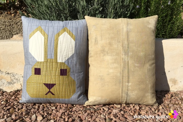 fancy forest bunny cushion cover back - skalabara quilts