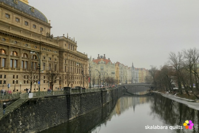 prague in winter back of national theatre