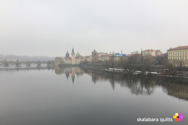 prague in winter river Moldavia
