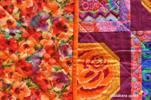 magenta and gold flowers quilt backing - skalabara quilts