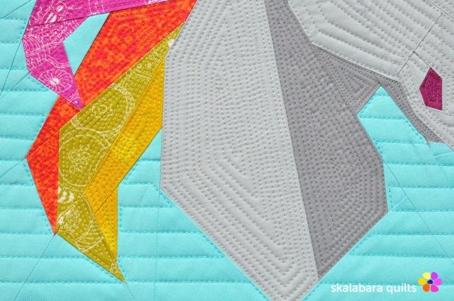 rainbow unicorn detail 3 - skalabara quilts