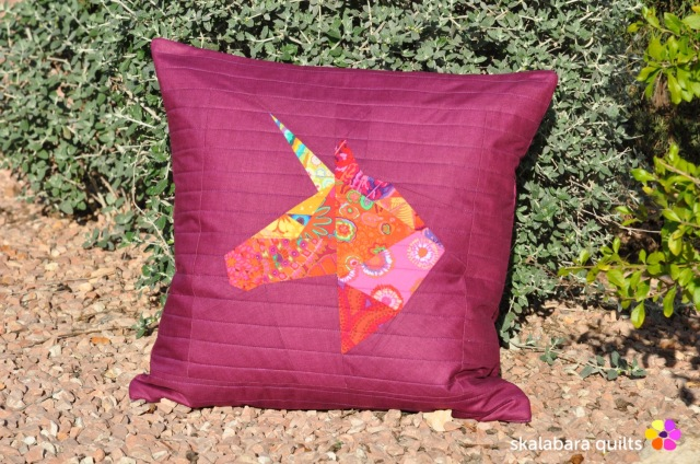 unicorn cushion cover for kate - skalabara quilts