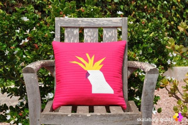 cockatoo cushion cover - skalabara quilts