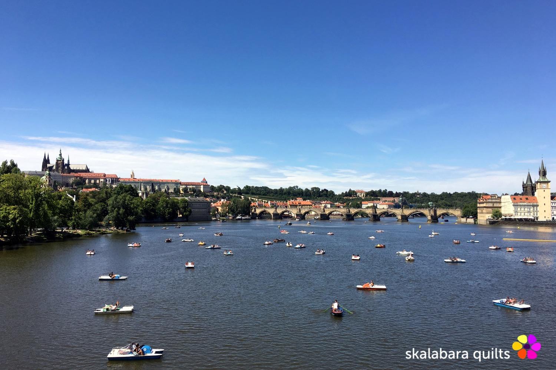 prague panorama view over the river Moldavia - skalabara quilts