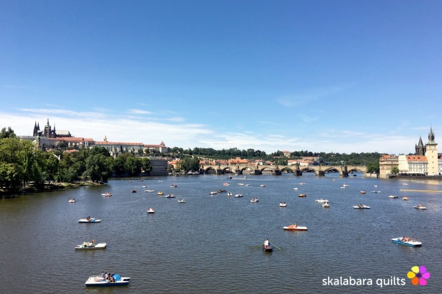 prague panorama view over the river Moldavia - skalabara quilts