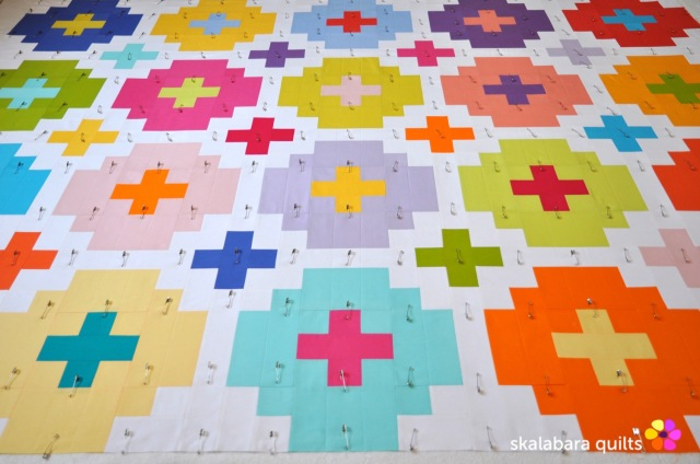 cross tile quilt baste 3 - skalabara quilts