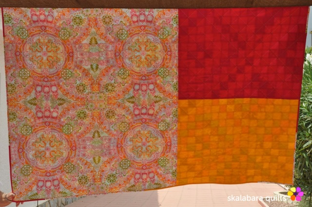 trip around the world quilt back - skalabara quilts