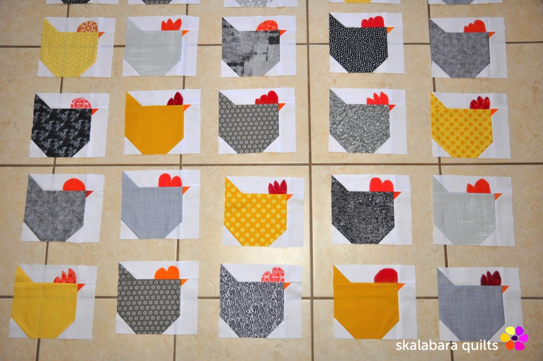 wip - chicken quilt throw 1 - skalabara quilts