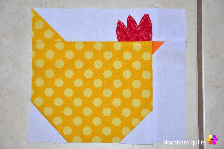 wip - chicken quilt throw 2 - skalabara quilts