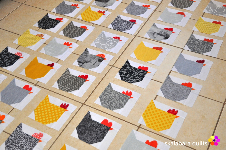 wip - chicken quilt throw 3 - skalabara quilts