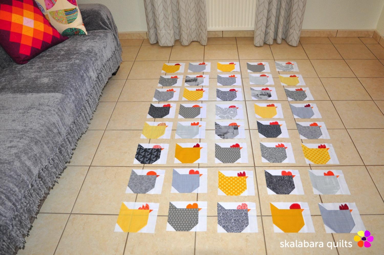 wip - chicken quilt throw - skalabara quilts