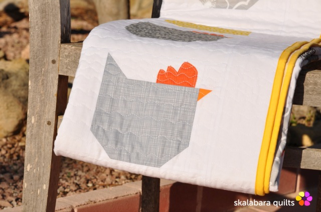 chicken quilt binding - skalabara quilts