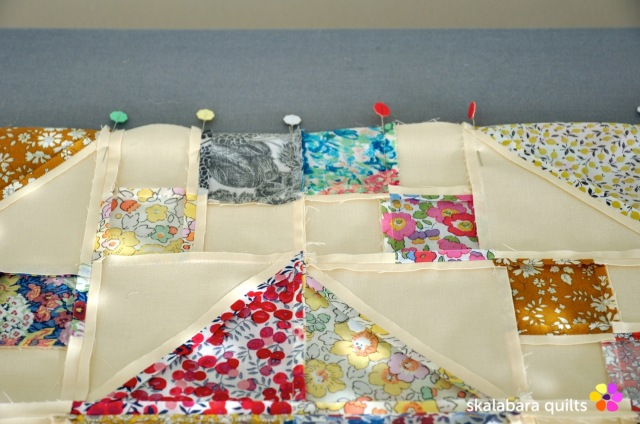 levitating liberty jewel box eggshell quilt 4 - skalabara quilts