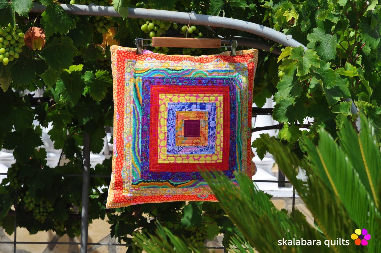 cushion cover log cabin with kaffe fassett fabrics 9 - skalabara quilts