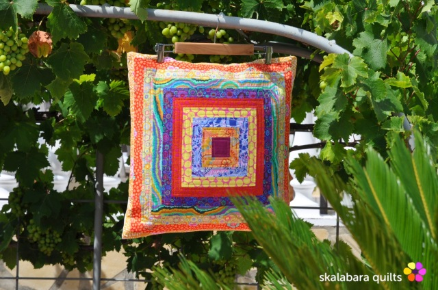 cushion cover log cabin with kaffe fassett fabrics 9 - skalabara quilts