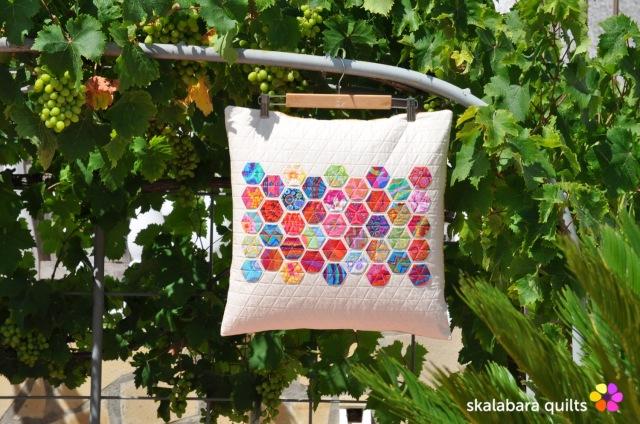 cushion cover log cabin with kaffe fassett fabrics 8 - skalabara quilts