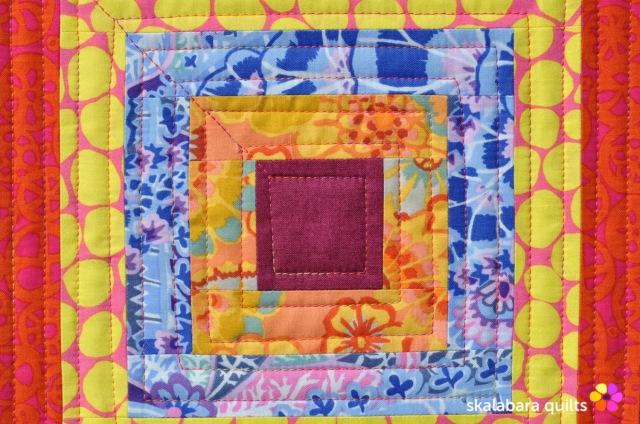 cushion cover log cabin with kaffe fassett fabrics 3 - skalabara quilts
