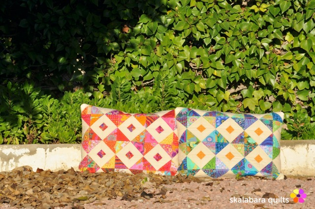 cushion cover red and green - skalabara quilts