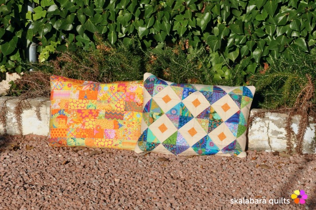 cushion cover gren yellow - skalabara quilts