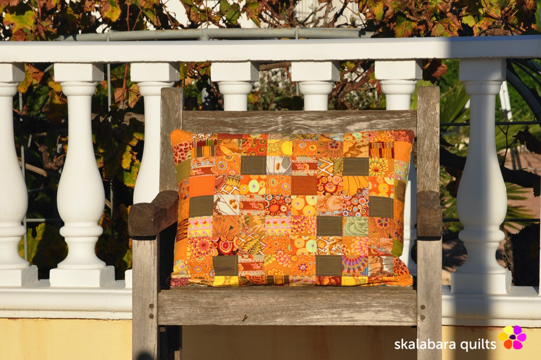cushion cover orange - skalabara quilts