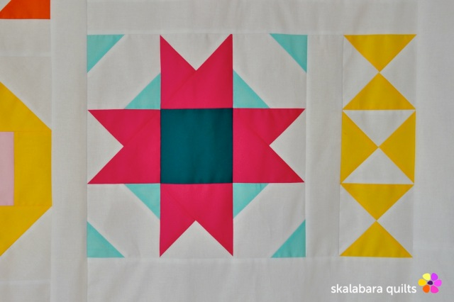 modern sampler - compass star - skalabara quilts