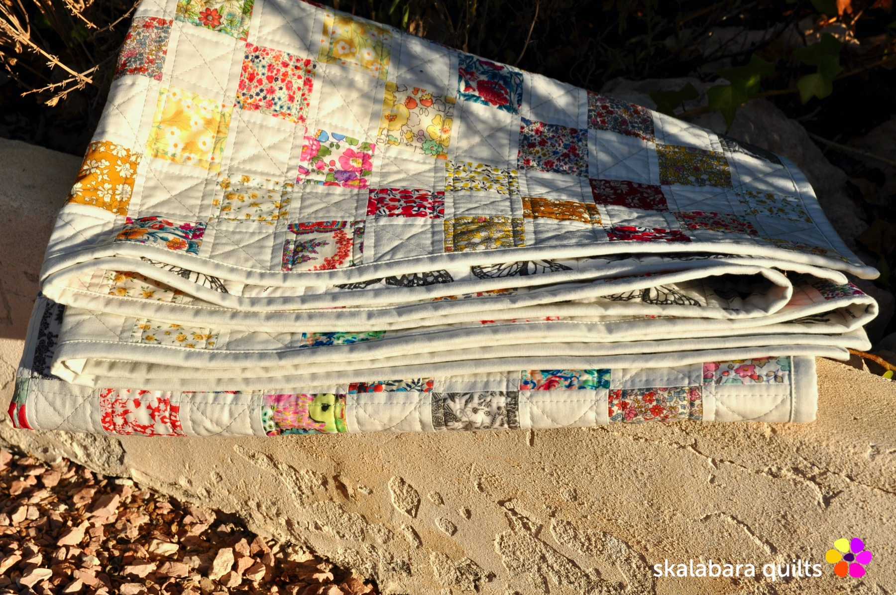 liberty checkered quilt binding 1 - skalabara quilts