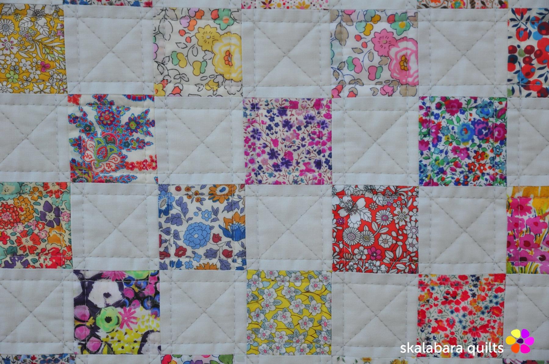 liberty checkered quilt detail 1 - skalabara quilts
