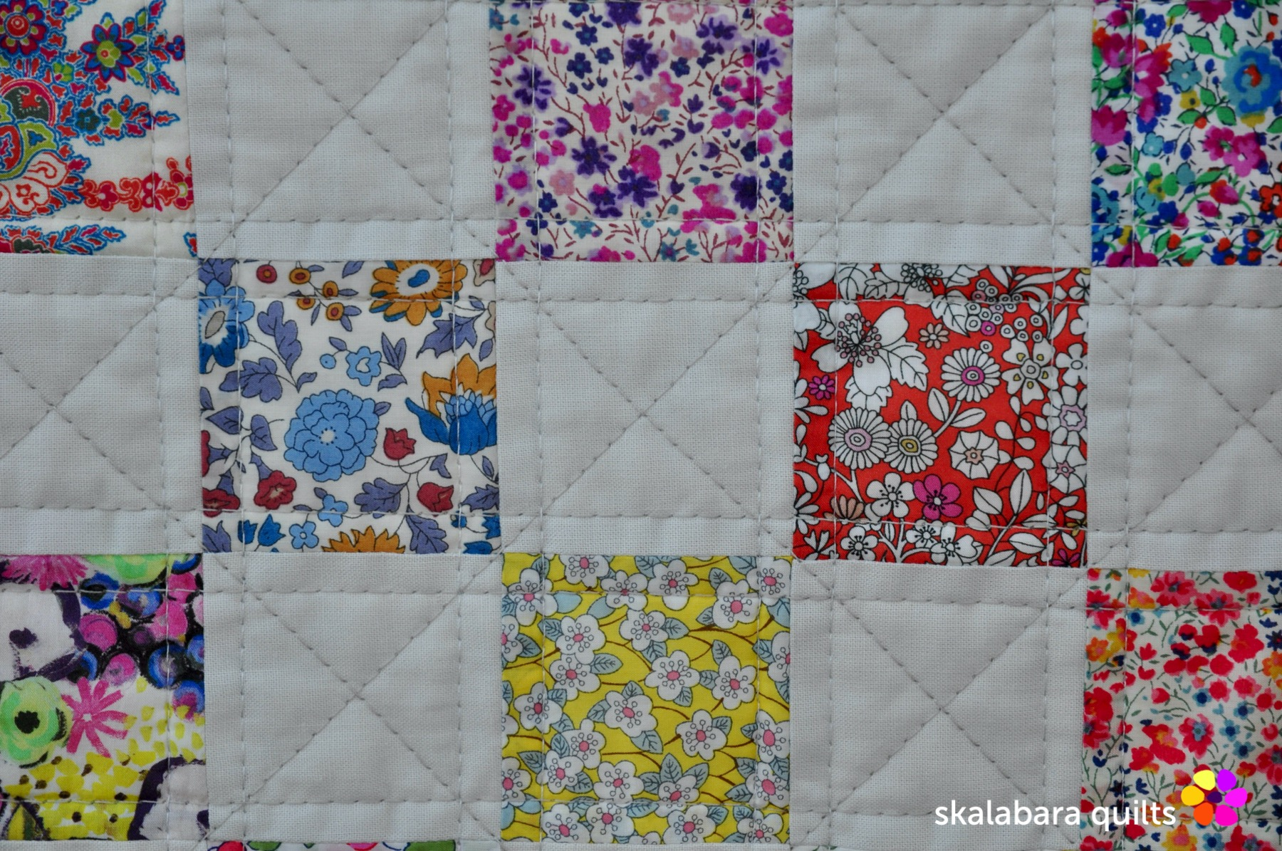 liberty checkered quilt detail 2 - skalabara quilts