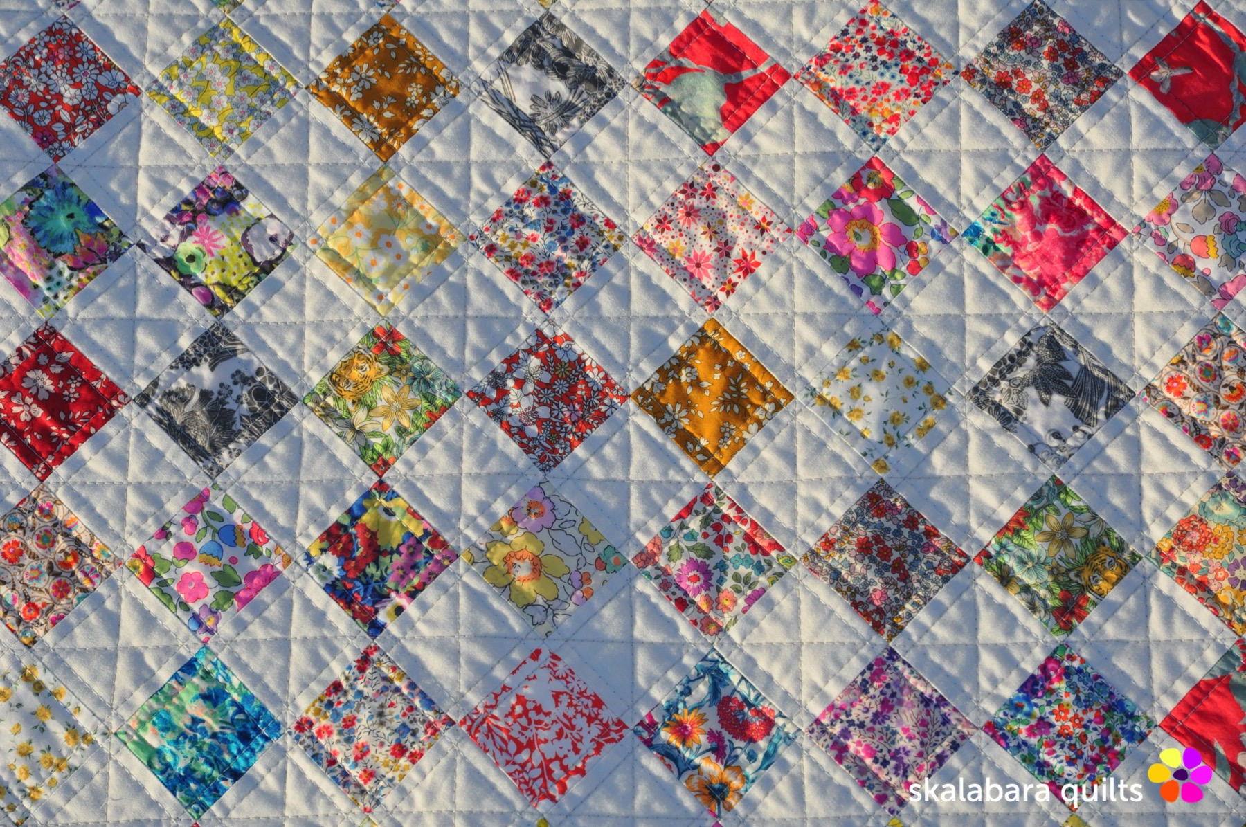 liberty checkered quilt detail 4 - skalabara quilts