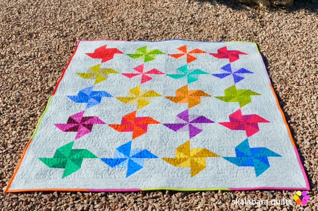 spinning windmill quilt throw - skalabara quilts