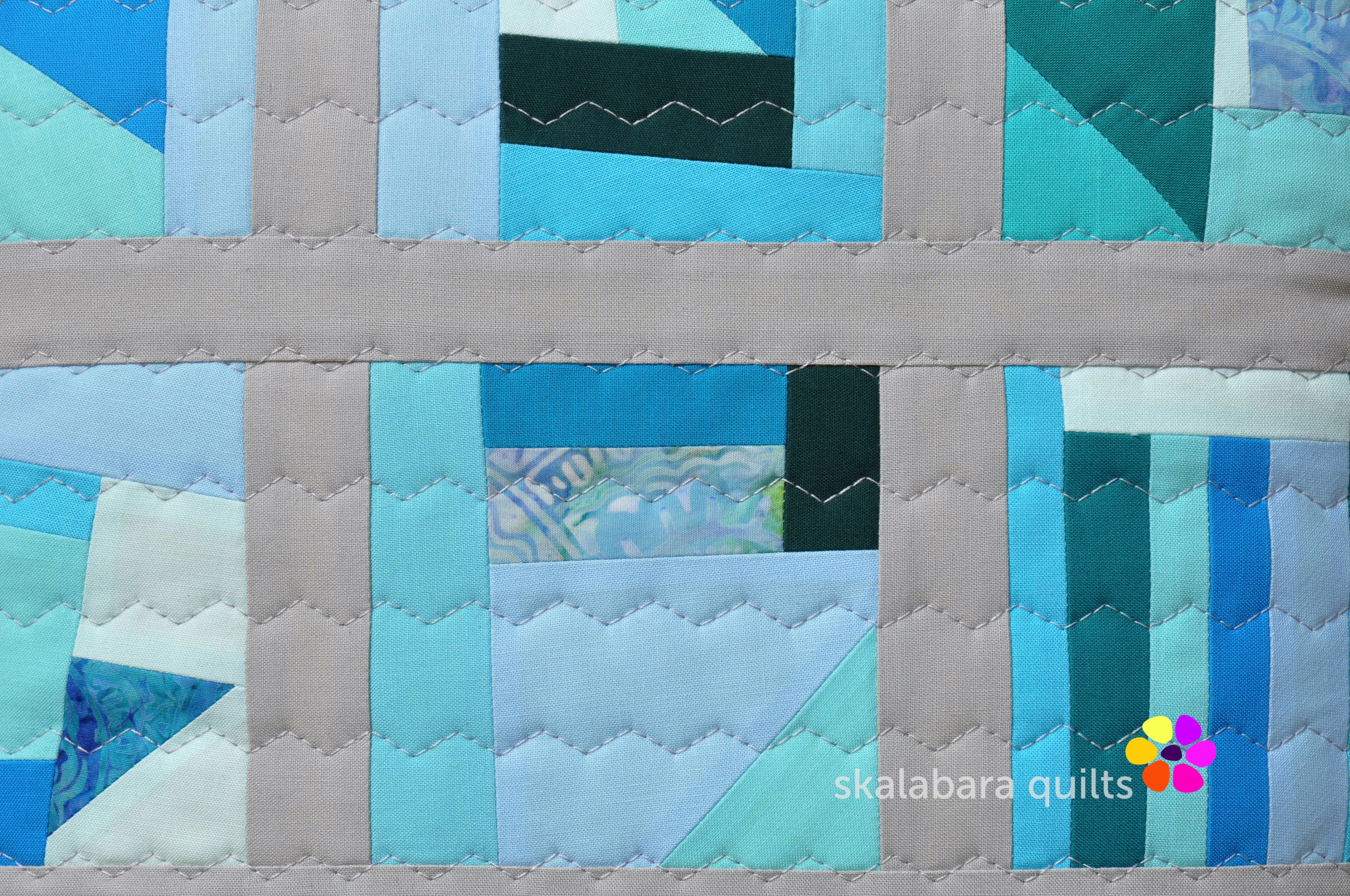 april turquoise cushion detail - skalabara quilts