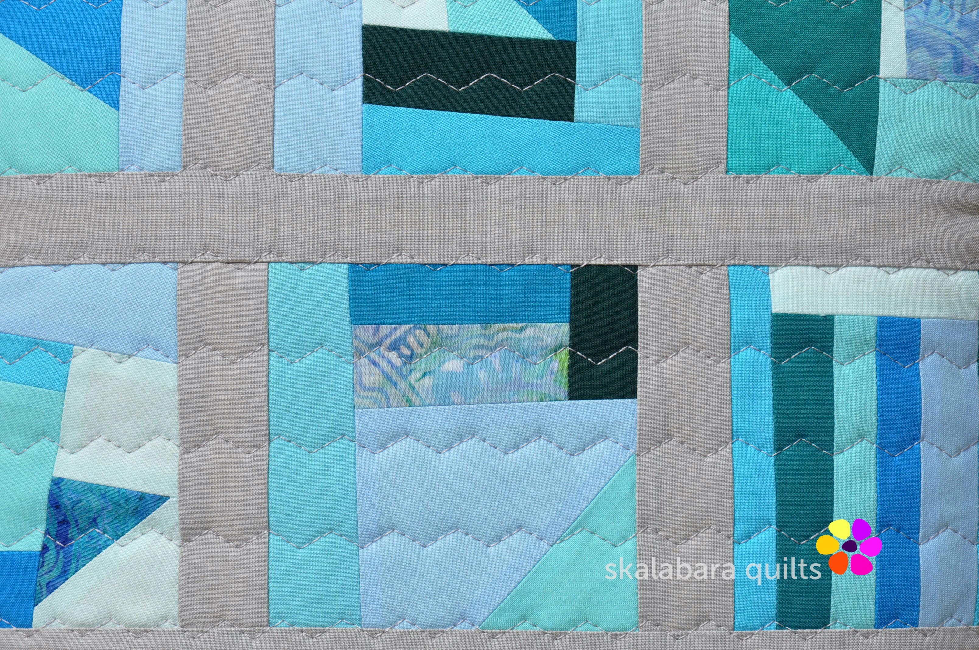 april turquoise cushion detail - skalabara quilts