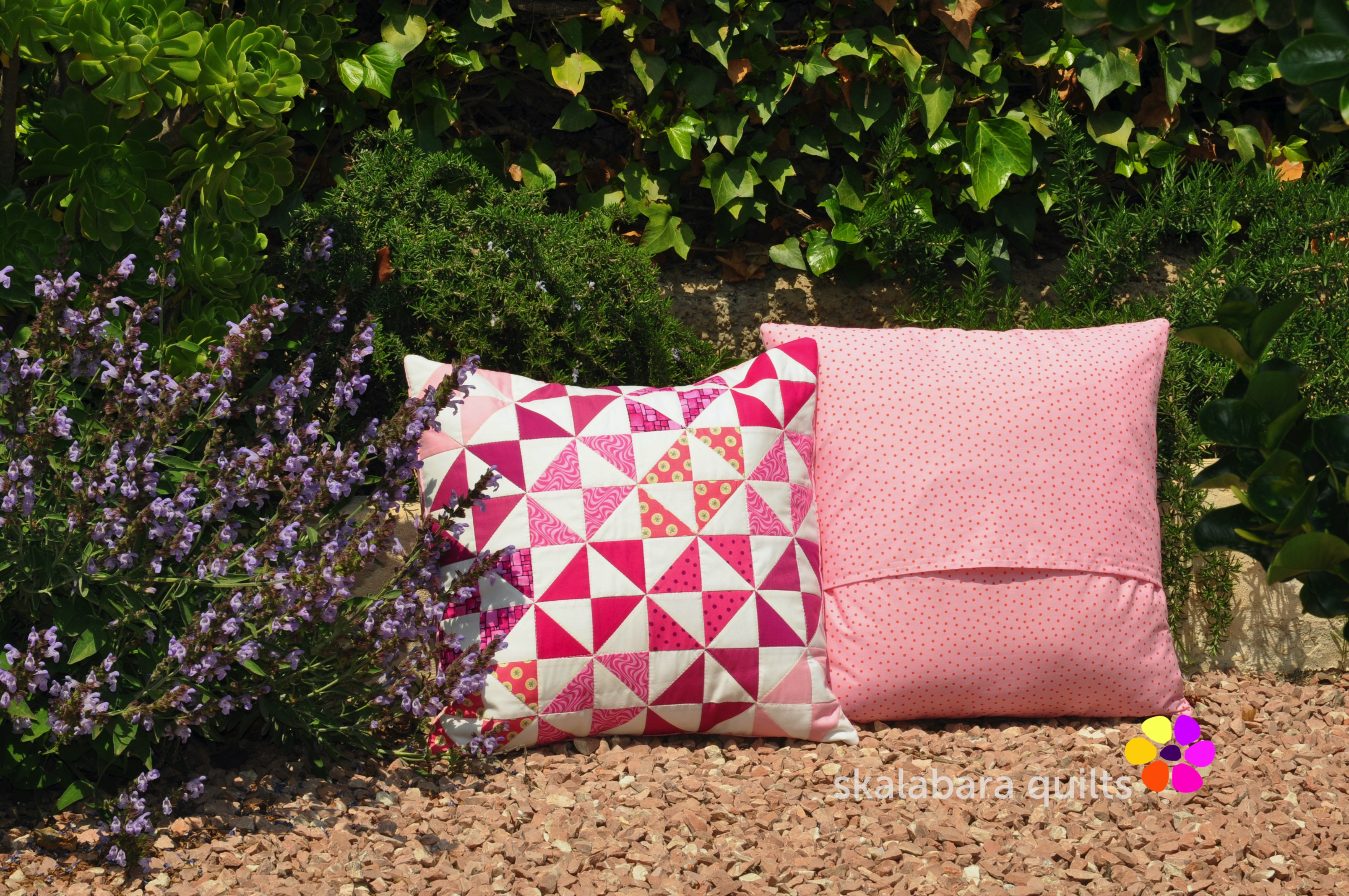 cushion covers broken dishes in pink backing - skalabara quilts